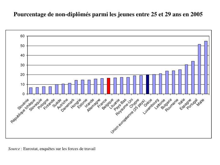 Pourcentage de non-diplômés parmi les jeunes entre 25 et 29 ans en 2005