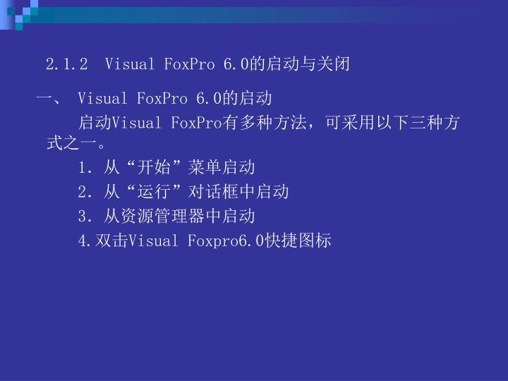 2.1.2  Visual FoxPro 6.0