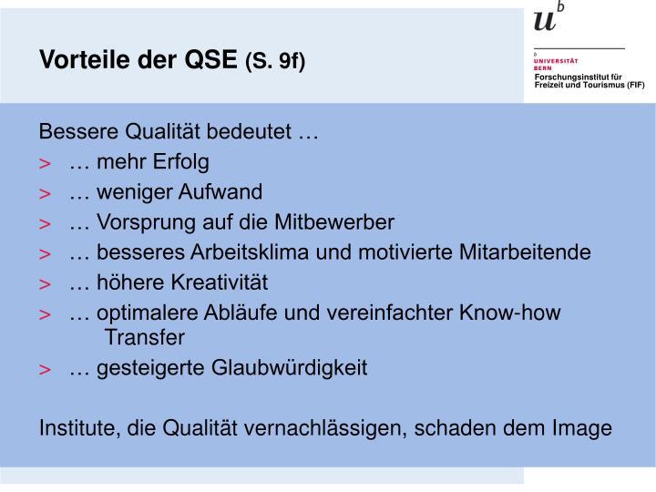 Vorteile der QSE