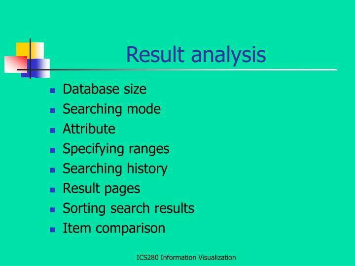 Result analysis