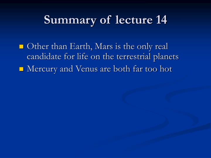 Summary of lecture 14