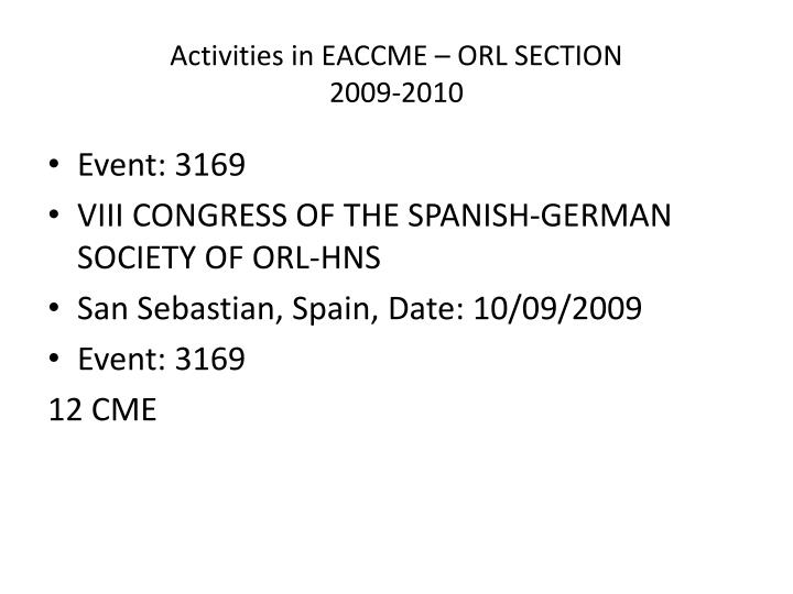 activities in eaccme orl section 2009 2010 n.