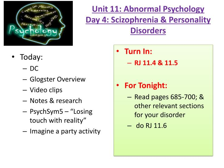 abnormal psychology personality disorder An individual's personality can be described as their traits, coping styles and ways of interacting in social settings.