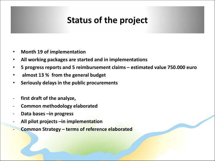 Status of the project