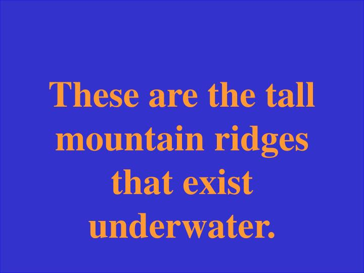 These are the tall mountain ridges that exist underwater.