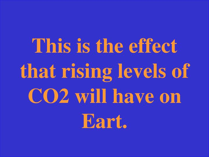 This is the effect that rising levels of CO2 will have on Eart.