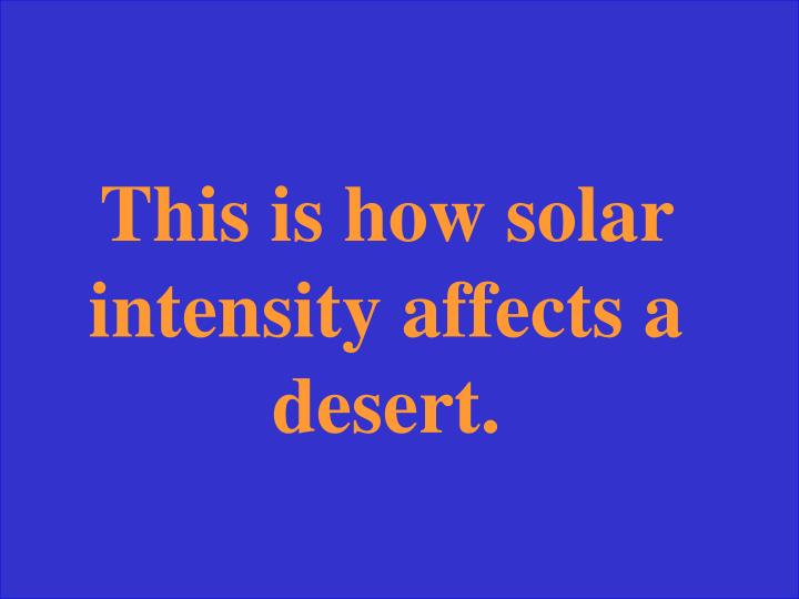 This is how solar intensity affects a desert.