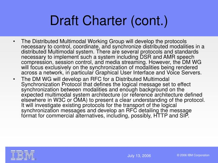 Draft Charter (cont.)