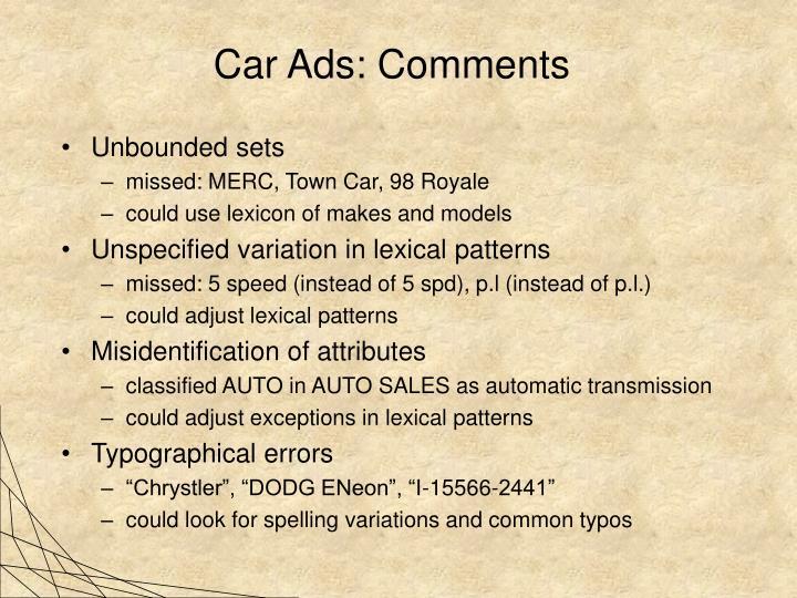 Car Ads: Comments