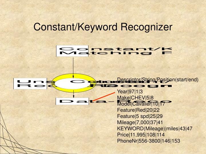Constant/Keyword Recognizer