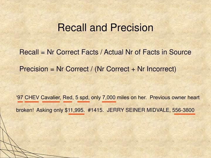 Recall and Precision