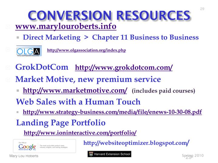 CONVERSION RESOURCES