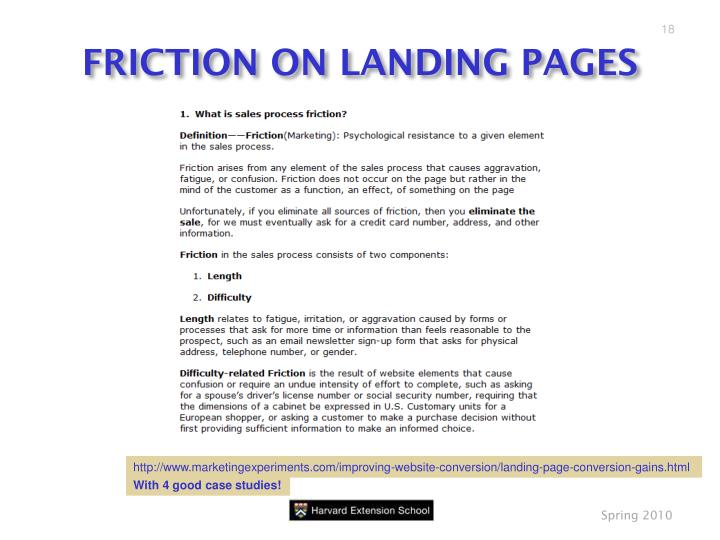FRICTION ON LANDING PAGES
