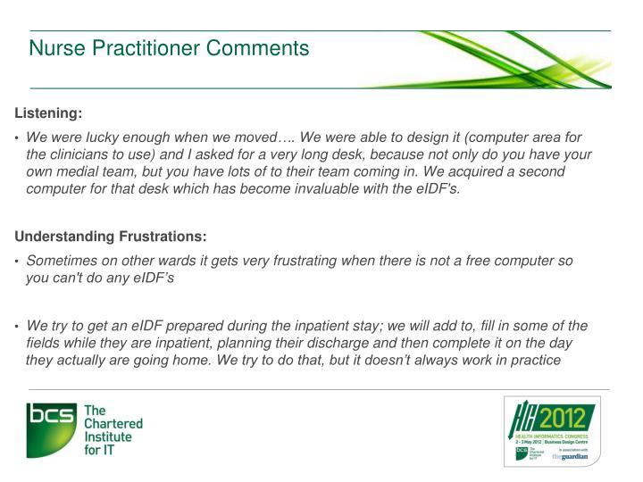 Nurse Practitioner Comments