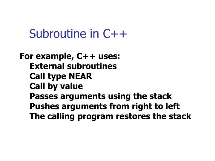 Subroutine in c