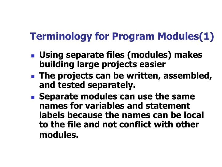 Terminology for Program Modules(1)