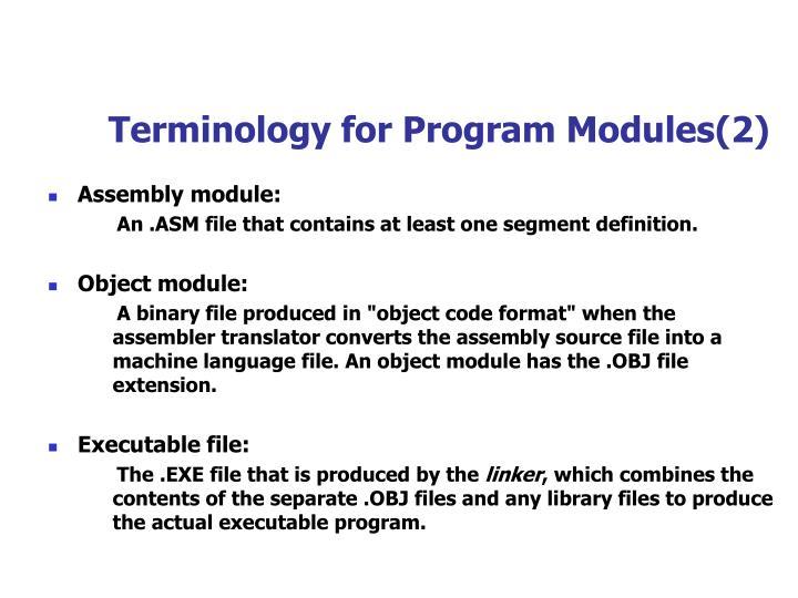 Terminology for Program Modules(2)