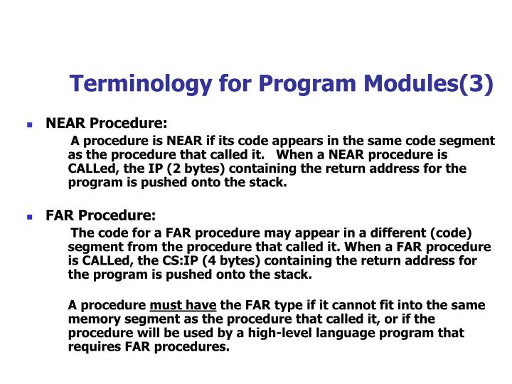 Terminology for Program Modules(3)