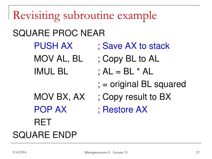 Revisiting subroutine example