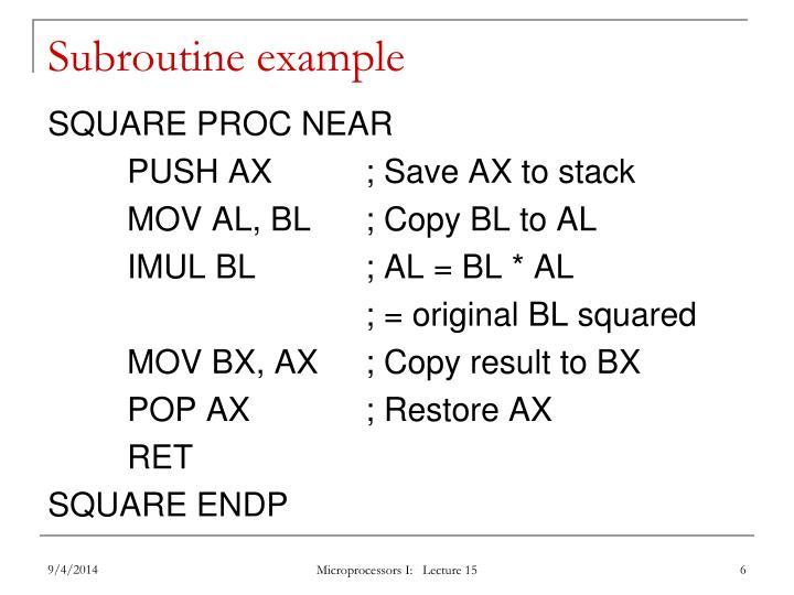 Subroutine example