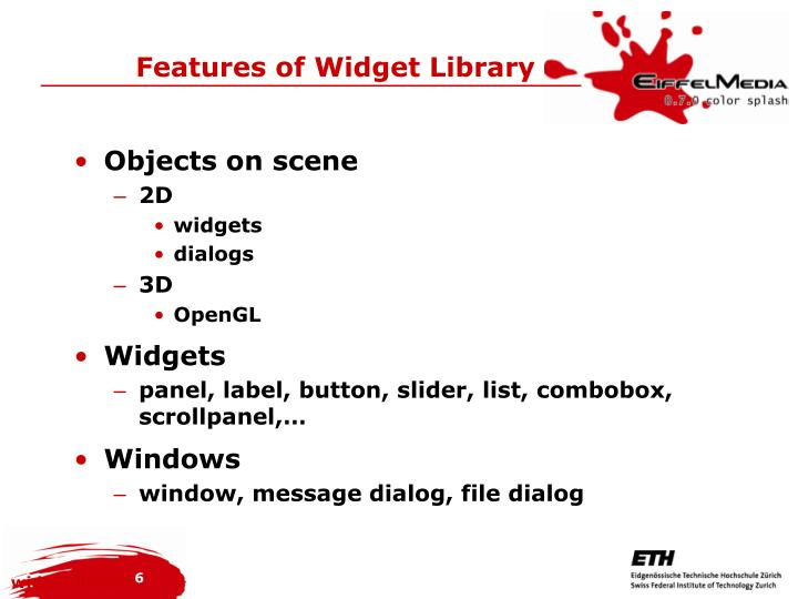 Features of Widget Library