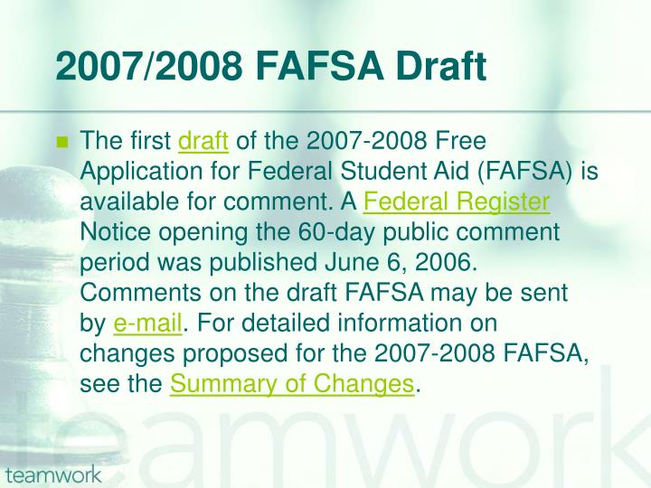 2007/2008 FAFSA Draft