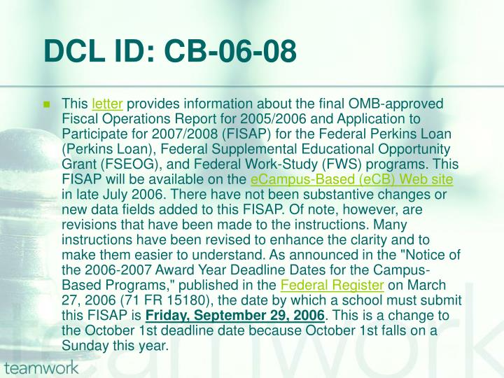 DCL ID: CB-06-08