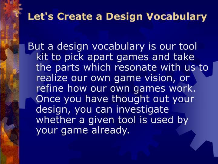 Let's Create a Design Vocabulary