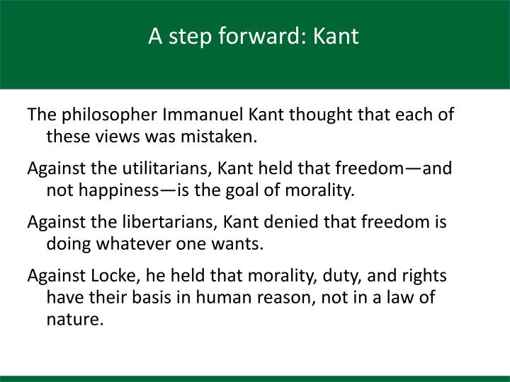 A step forward: Kant