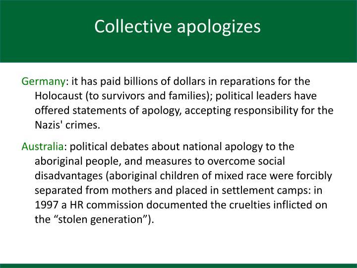 Collective apologizes