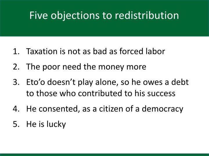 Five objections to redistribution
