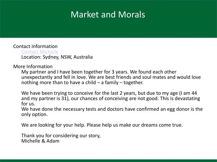 Market and Morals