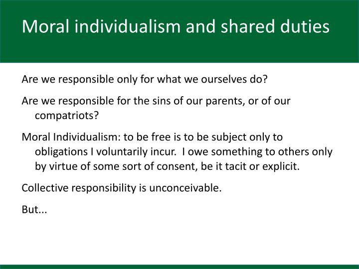 Moral individualism and shared duties