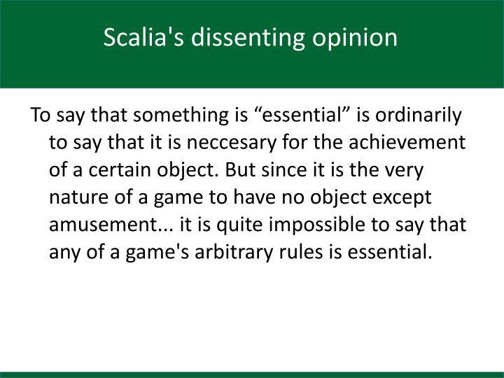 Scalia's dissenting opinion