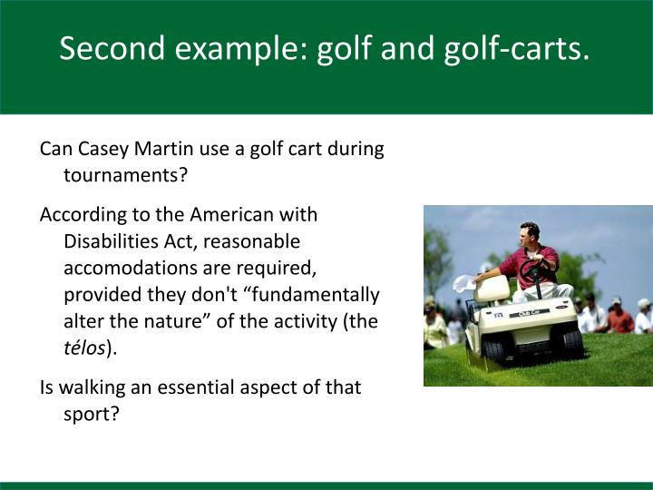 Second example: golf and golf-carts.