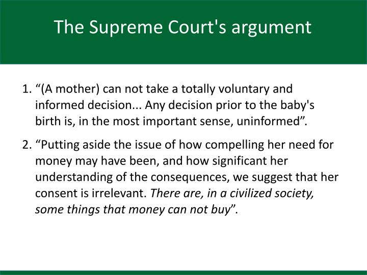 The Supreme Court's argument