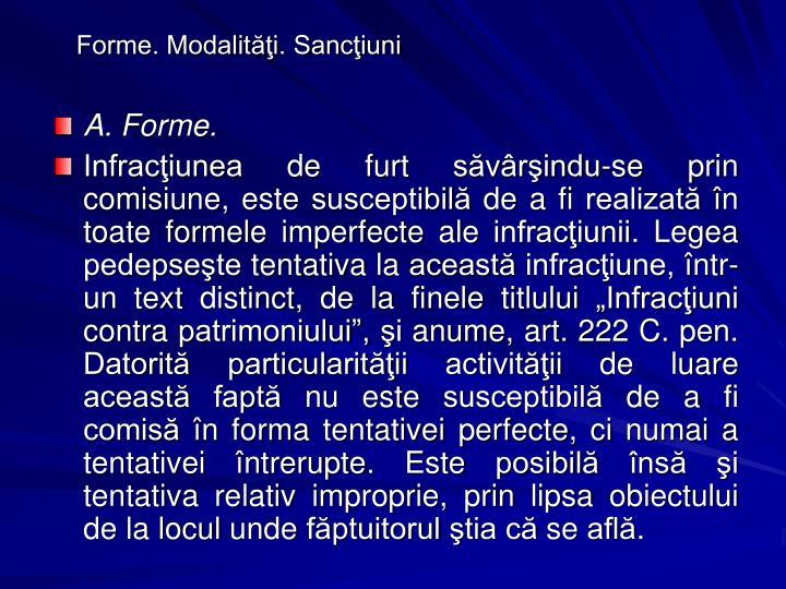 Forme. Modalităţi. Sancţiuni