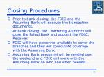 closing procedures