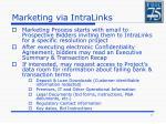marketing via intralinks