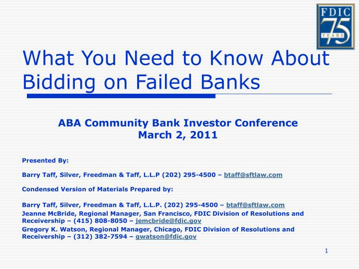 what you need to know about bidding on failed banks n.