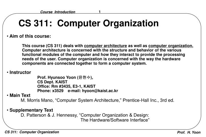 Ppt Cs 311 Computer Organization Powerpoint Presentation Free Download Id 3896284