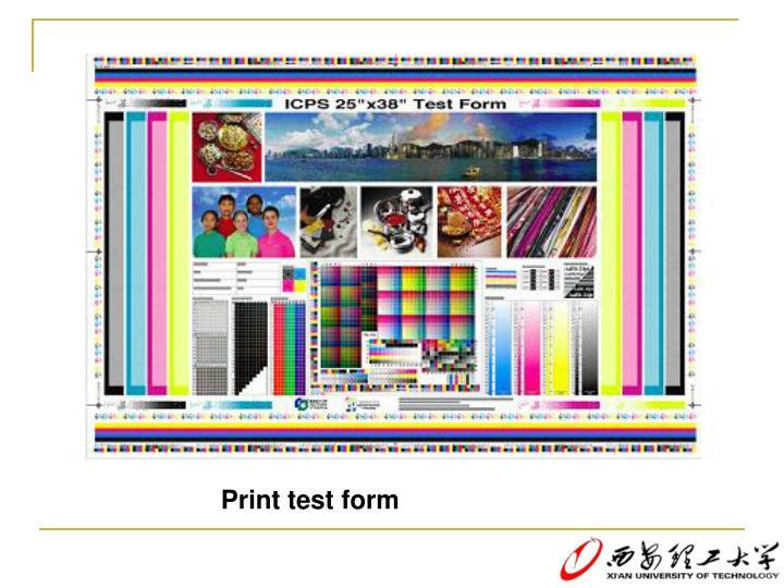 Print test form