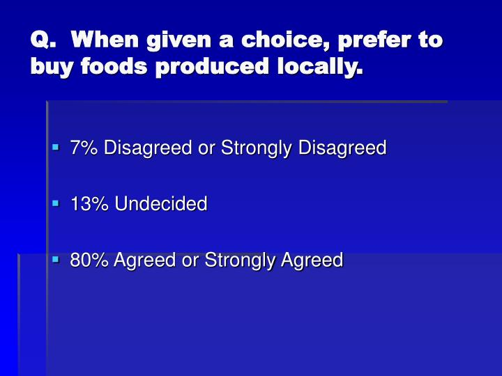 Q.  When given a choice, prefer to buy foods produced locally.