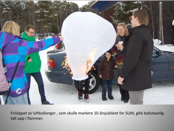 Frislippet av luftballonger , som skulle markere 10-årsjubileet for SUM, gikk bokstavelig