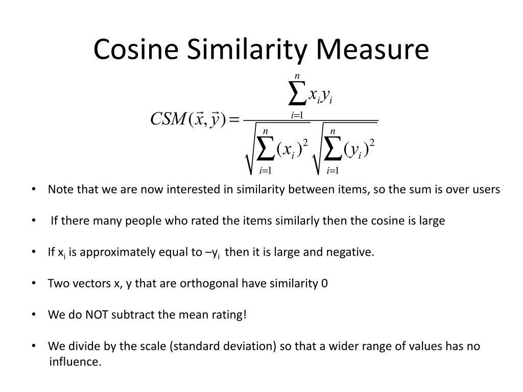 PPT - Cosine Similarity Item Based Predictions PowerPoint