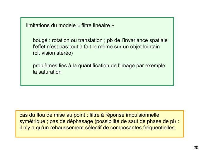 limitations du modèle «filtre linéaire»