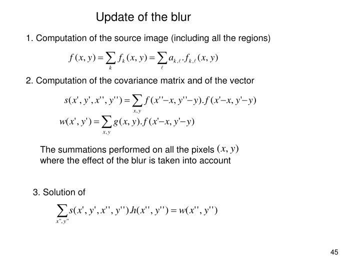 Update of the blur