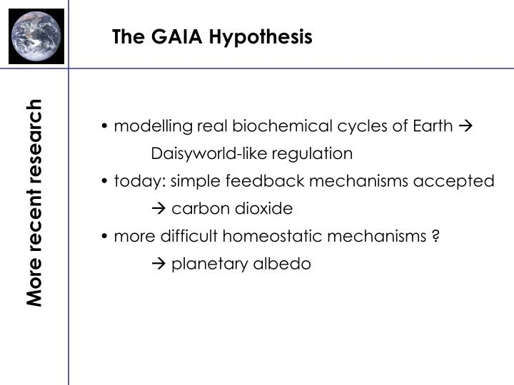 gaia hypthesis Our planet | the gaia hypothesis | mother earth is a living being and all life forms are her offspring we humans could be said to be.