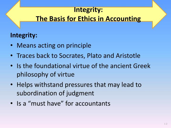 Integrity the basis for ethics in accounting