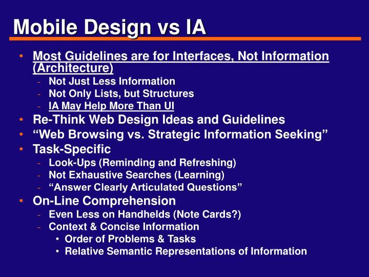 Mobile Design vs IA